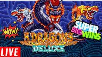 5 Dragons Deluxe Slot Machine SUPER BIG WIN - Live Stream Slot Play From HARRAH'S Casino