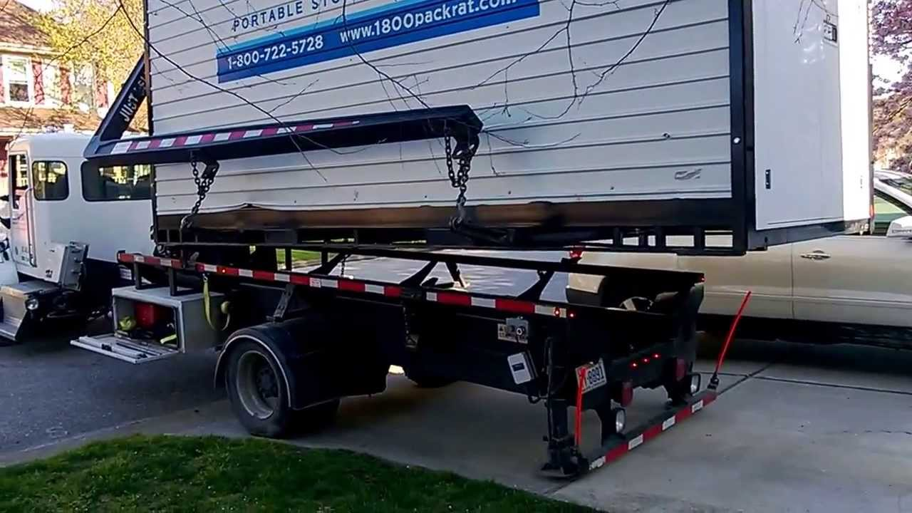 800 Pack Rat delivery and unloading storage shed - YouTube
