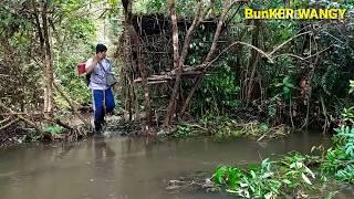 Bushcraft overnight fishing & natural shelter
