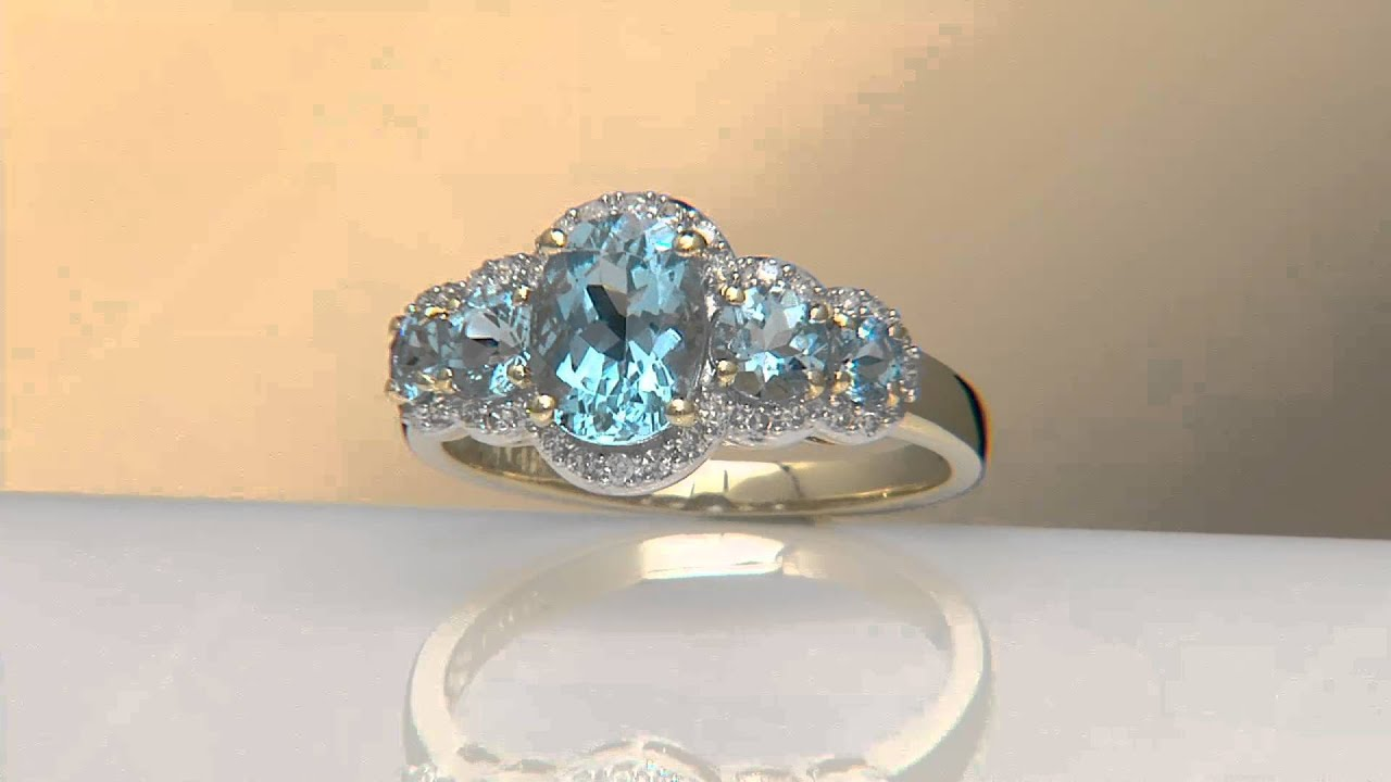 150 Ct Tw Santa Maria Aquamarine & Diamond 5stone Ring, 14k Gold On Qvc