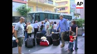WRAP Aftermath of shelling, arrival of ship to evacuate foreigners, evacuees