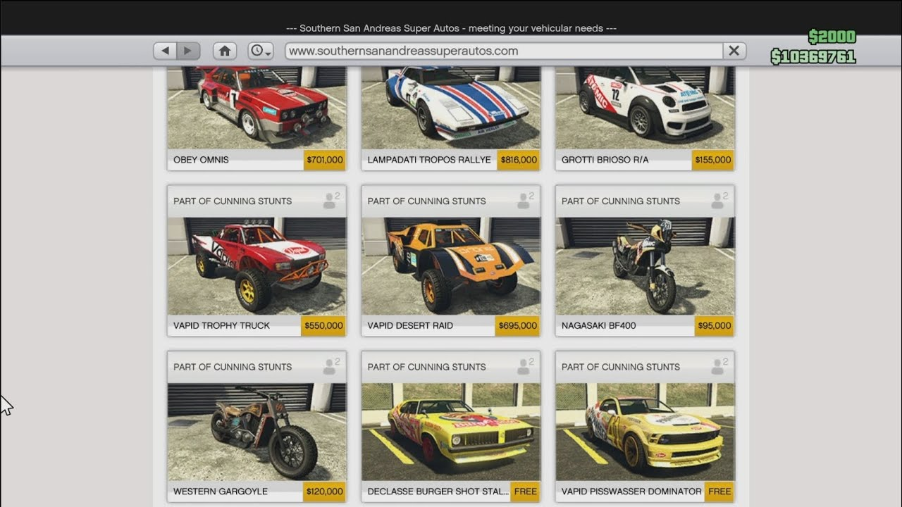 Gta Online Car Prices And Stats
