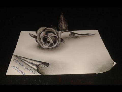 Dibujando Una Rosa 3d Drawing A Rose 3d Youtube