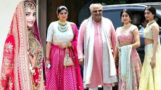Jhanvi Kapoor & Khushi Kapoor With Father Boney Kapoor At Sonam Kapoor & Anand Ahuja's Wedding Cerem