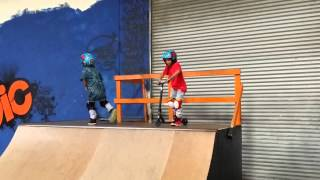 scooter kid 6 lands double whip off 1 4 pipe and s