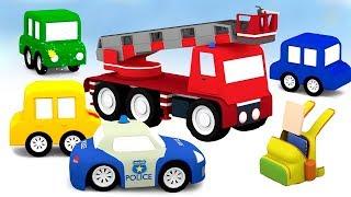 4 coches coloreados. Camiones de bomberos. Capítulos completos para niños .