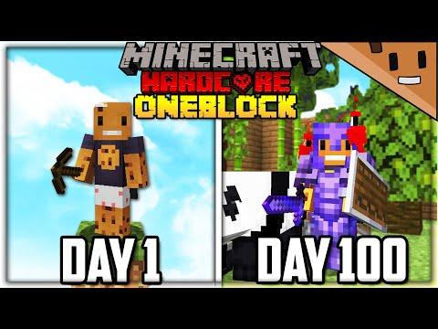 I Survived 100 Days on ONE BLOCK in Hardcore Minecraft... Here's What Happened