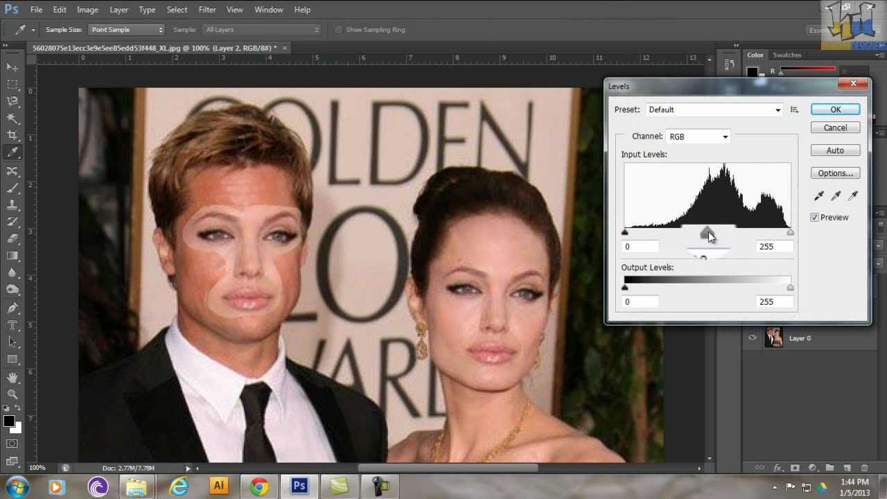 Angelina Jolie and Brad Pitt face Swap Photoshop tutorial - YouTube