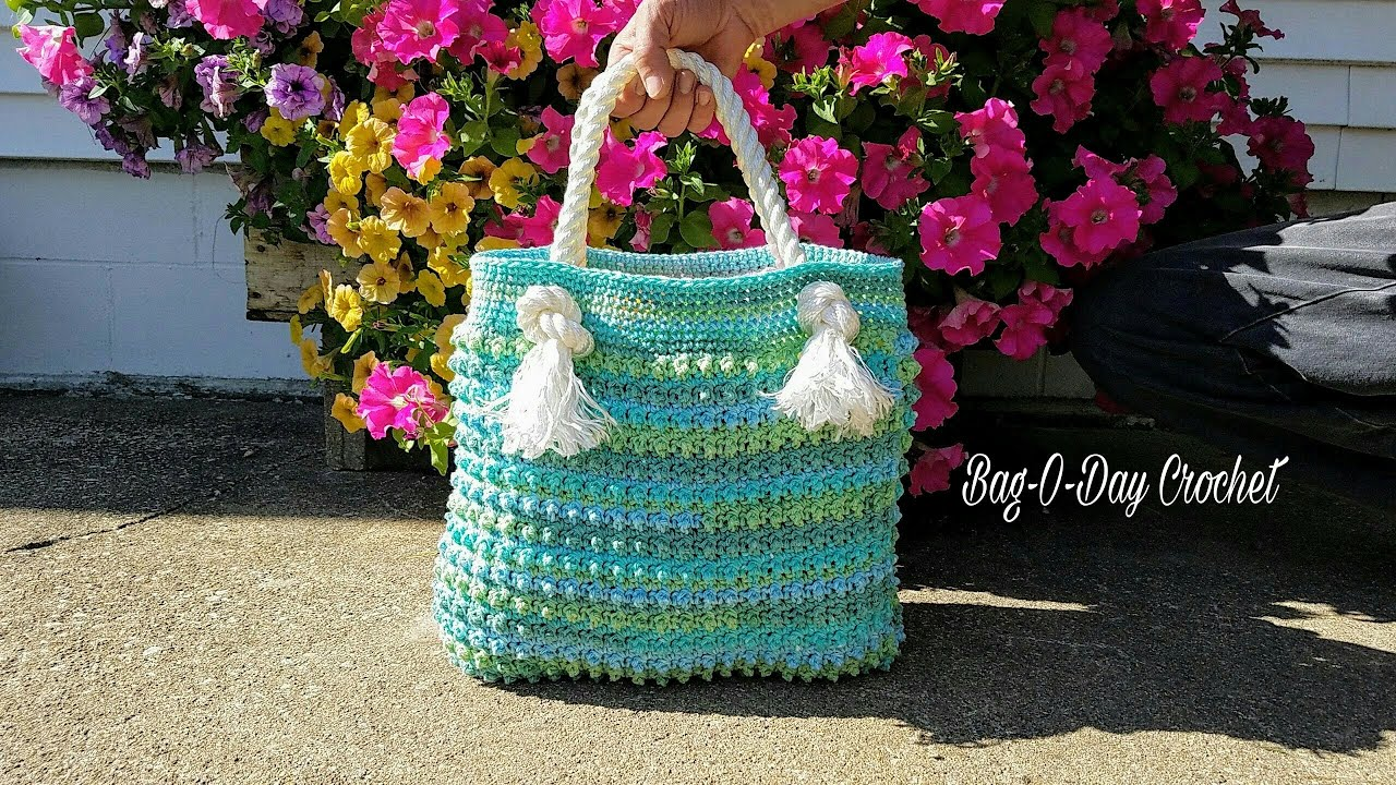 Learn How To Crochet Blue Ocean Breeze Summer Beach Bag TUTORIAL ...