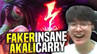 SKT T1 Faker Insane Carry with Akali! - When Faker Picks Akali Top! | SKT T1 Replays