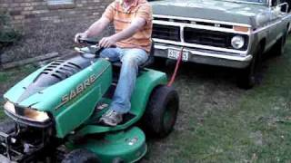 Rider Mower Pulls 3/4 Ton Truck with 3000lb Trailer Attached!