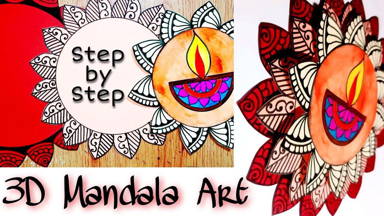 Diwali Decoration Ideas 3d Mandala Art Diwali Art And Craft Ideas Diwali Mandala Art Youtube