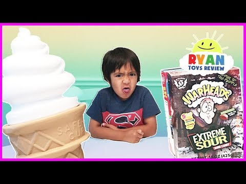Thumbnail: EXTREME SOUR CANDY CHALLENGE Warheads Cry Baby and Giant IceCream Surprise Candy Taste Test Ryan Toy