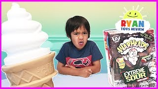 EXTREME SOUR CANDY CHALLENGE Warheads Cry Baby and Giant IceCream Surprise Candy Taste Test Ryan Toy