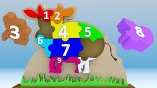 Drewniane puzzle 3D dla dzieci z krową - Kolory i liczby   CzyWieszJak