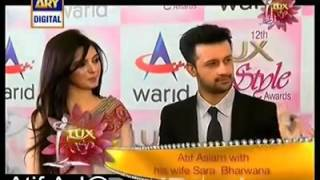 atif aslam with his wife sara at the red carpet of lux style awards 2013