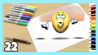 How to drawing 3D Emoji art trick on paper / #22 / Thea Drawing
