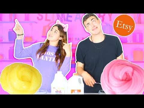 REMAKING ETSY SLIME SHOP PEACHYBBIES SLIMES CHALLENGE | clear, gold, pink slime | Slimeatory #81