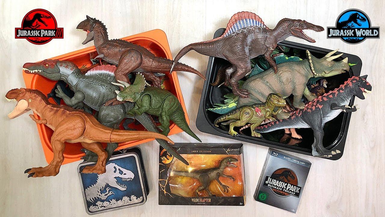 40 Jurassic World vs Jurassic Park Dinosaurs in a Box!