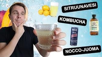Terveysjuomat testissä - Nocco-juoma, kombucha ja sitruunavesi