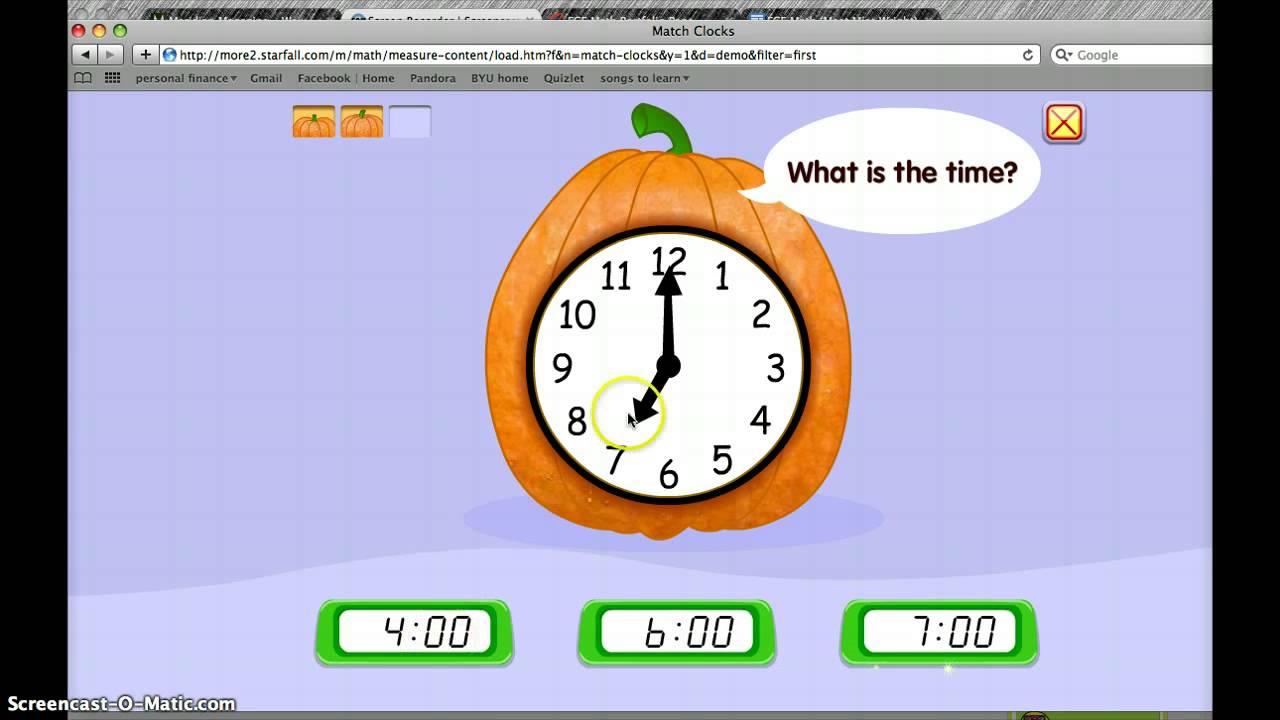 Starfall - Match Clocks - YouTube
