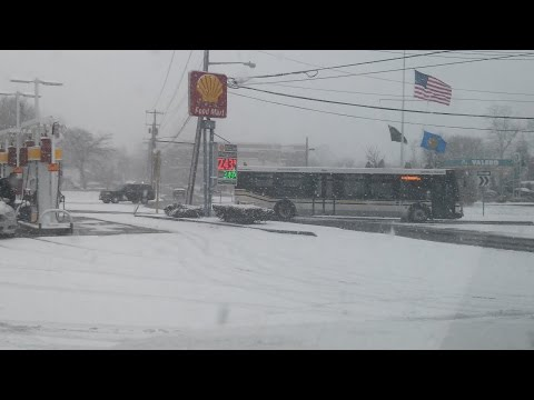 Riverhead Traffic Circle. Gas Prices, Snow Storm First Snowing Day In L.i.