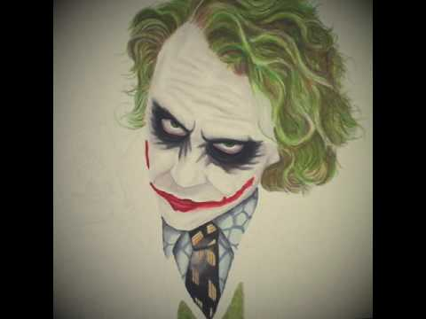 Colour pencil drawing of heath ledger s the joker