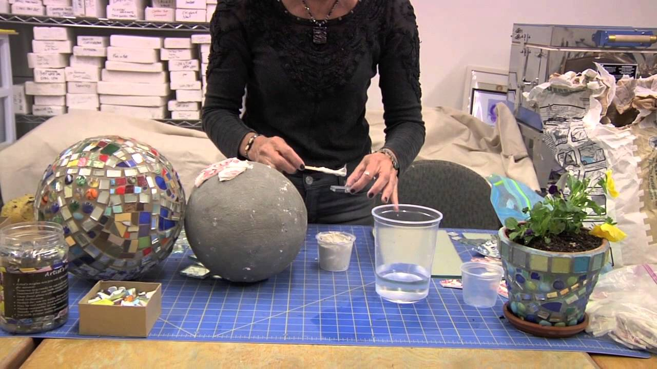 How To Use Thinset To Attach Mosaic Pieces To A Gazing Ball   YouTube