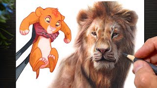 Drawing Simba - The Lion King 1994 vs 2019 | Colored Pencils Drawing