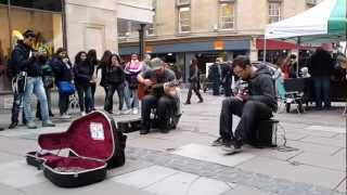 Two Street Guitarists in Bath, England Perform Queen