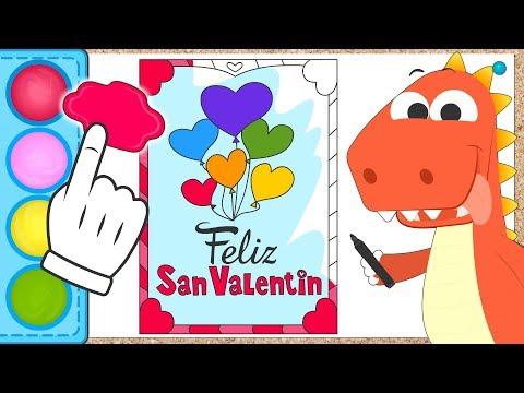 Aprende con Eddie a colorear la tarjeta de San Valentín 💝 Eddie el dinosaurio Especial San Valentín