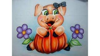 Pintura em tecido Porquinha – Arte com Marcos Pedro
