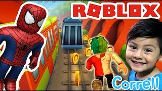 Subway Surfers in Roblox | Spiderman skin | Blox Surfers Roblox games for kids