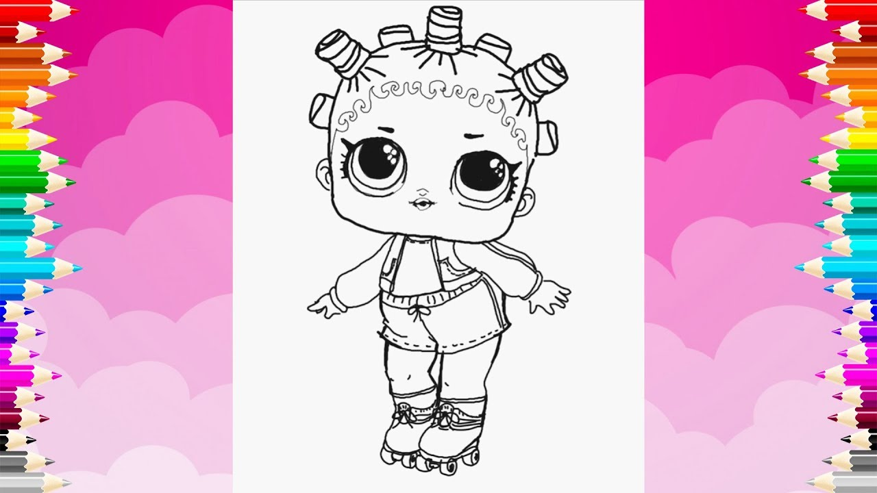 How to draw an lol surprise doll drawing and coloring lol doll roller skater
