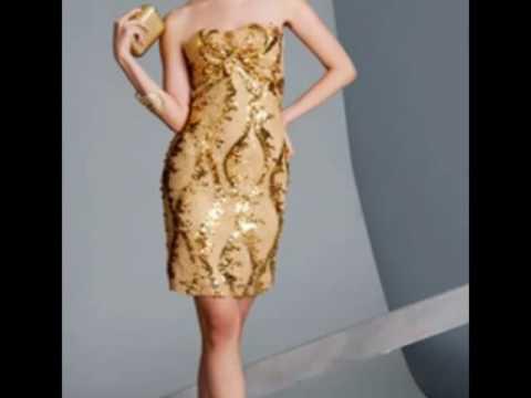Como combinar un vestido dorado corto