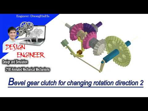 Reverse clutches:Bevel gear clutch for changing rotation direction 2-Tutorial Video||Design engineer