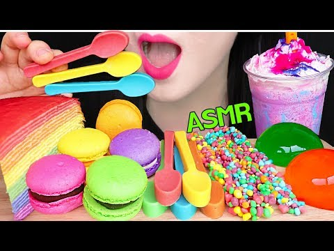 ASMR RAINBOW CREPE CAKE, EDIBLE SPOON, MACARON, NERDS ROPE JELLY 레�보우 �레�프 케��, 너드 로프젤리, 먹는 숟가� 먹방