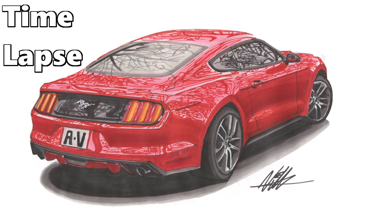 Range Rover Drawing >> 2015 Ford Mustang Drawing - Time Lapse - YouTube
