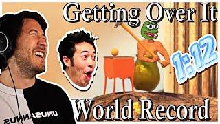 Markiplier Reacts Getting Over It Speedrun (WORLD RECORD)