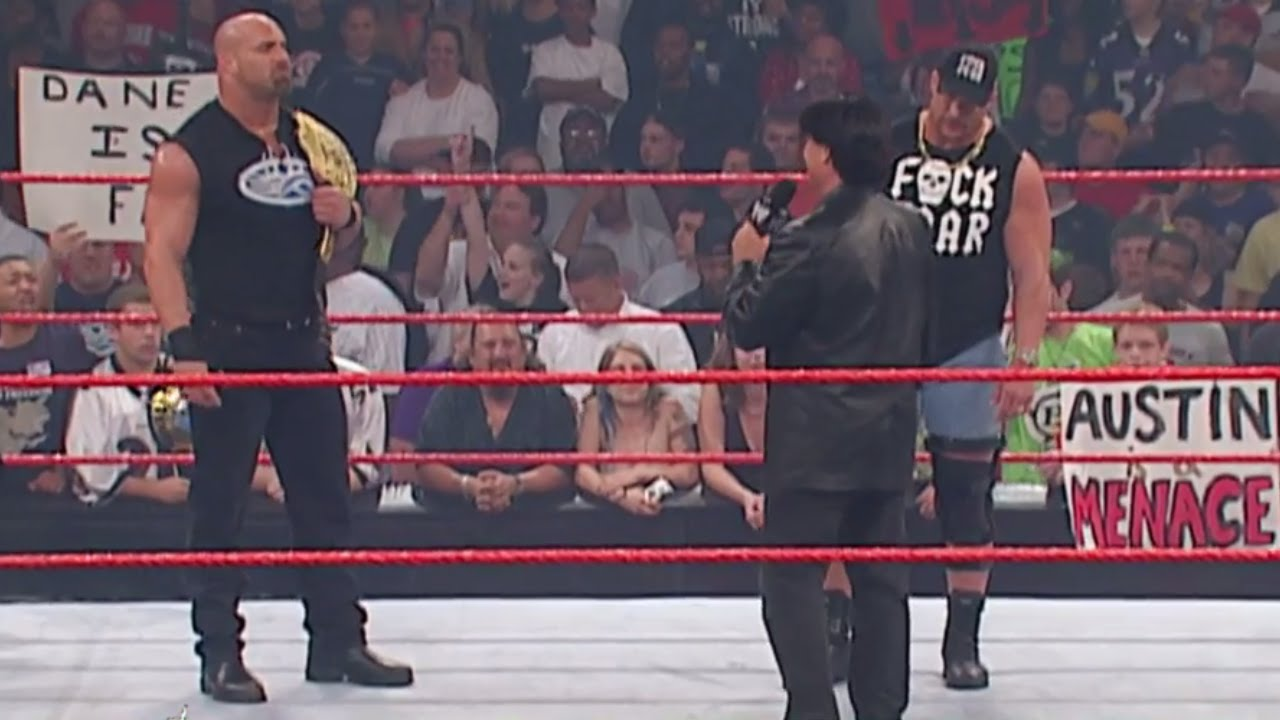 Goldberg obliterates Eric Bischoff with a Spear: Raw, Sept. 22, 2003