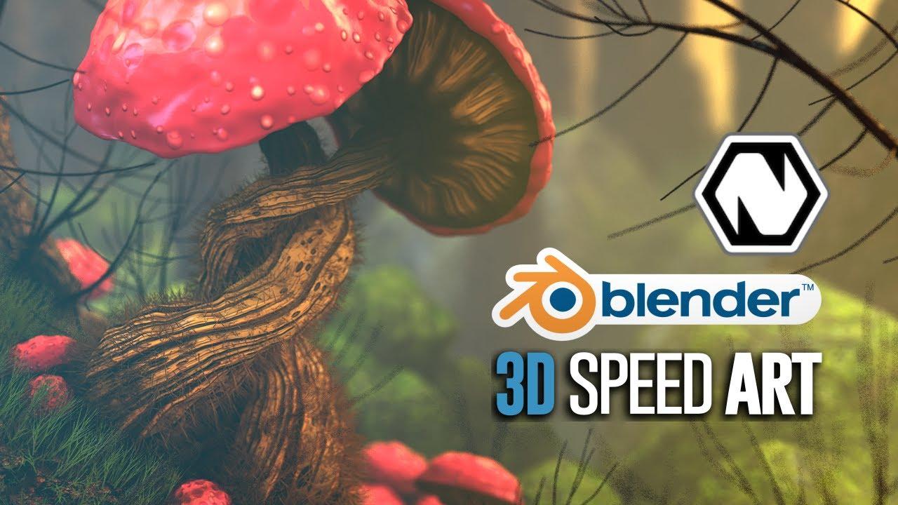 Blender + Natron | 3D Speed Art | The Mushroom Forest