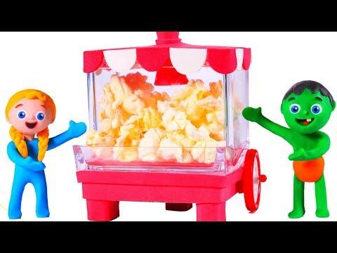 SUPERHERO BABIES AND THE POPCORN MACHINE 鉂� SUPERHERO PLAY DOH CARTOONS FOR KIDS
