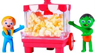 SUPERHERO BABIES AND THE POPCORN MACHINE ❤ SUPERHERO PLAY DOH CARTOONS FOR KIDS