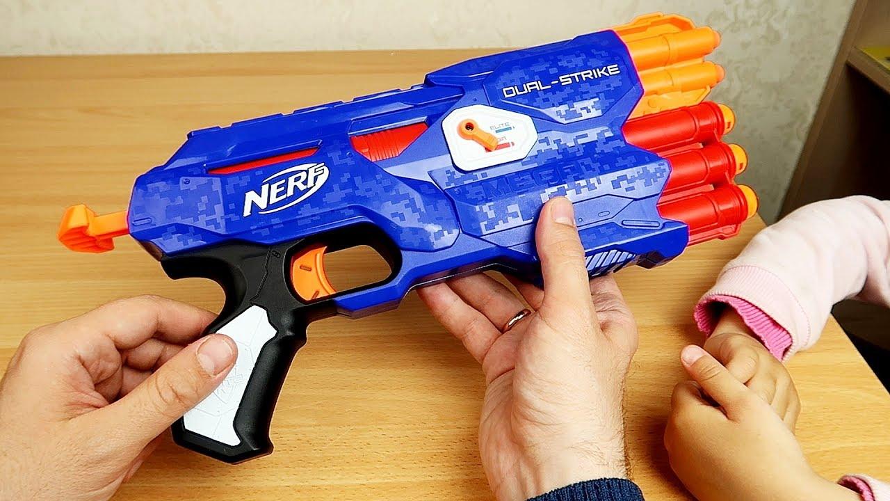 NERF Dual-Strike из Китая. Стреляем с Настей по мишеням!