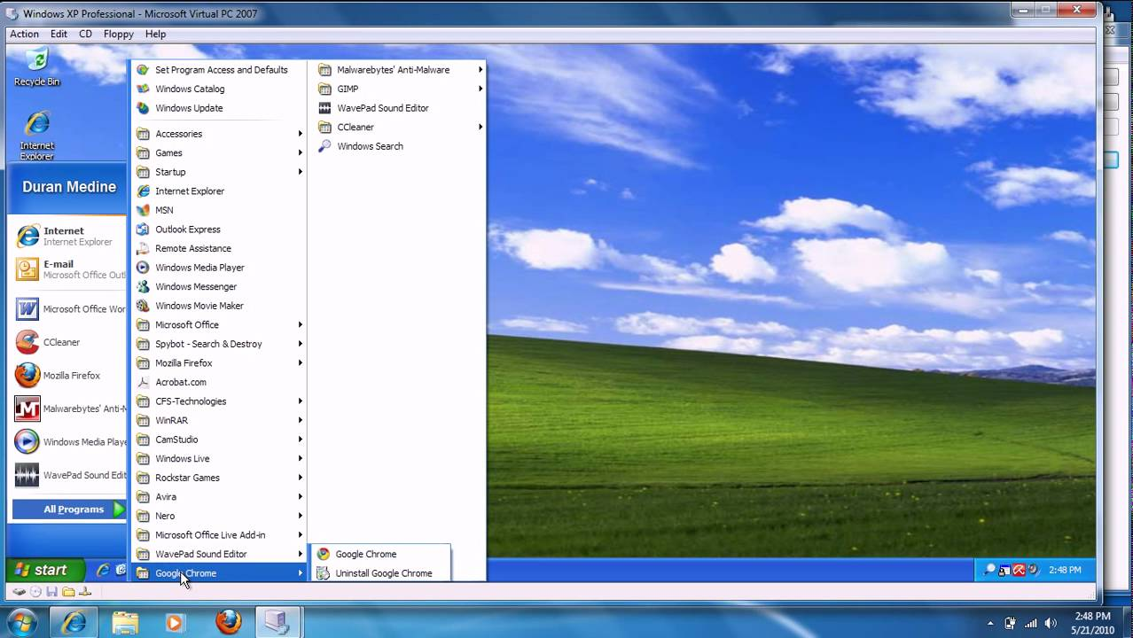 Windows XP Professional (SP3) in Microsoft Virtual PC 2007 ...