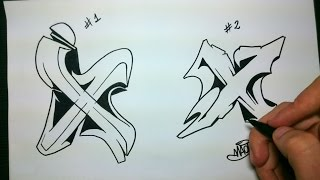"""How to draw Graffiti Letter """"X"""" on paper"""