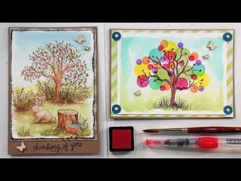 Ink Pad Watercolor Technique // Two FUN Cards!
