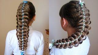 Коса ажурная из пяти прядей две из которых ленты. Видео-урок