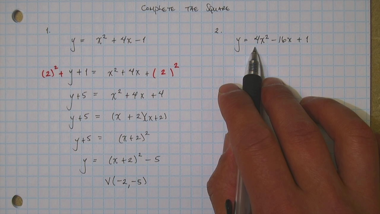 Quadratic in vertex form by completing the square youtube quadratic in vertex form by completing the square falaconquin