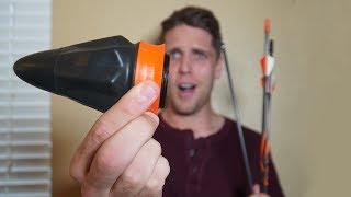 THIS THING CAN SHOOT ARROWS?! *Archery Sling Shot Challenge*